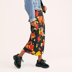 NWT Free People Fruity Pop Printed Midi Skirt Sz 0